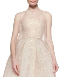 Monique Lhuillier Iridescent Chantilly Lace Overlay Tunic - Lyst