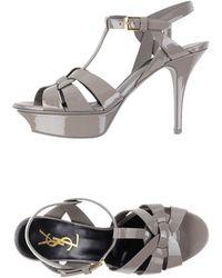 Yves Saint Laurent Rive Gauche Sandals gray - Lyst