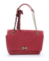 Lanvin Red Quilted Leather Large 'Happy' Shoulder Bag - Lyst