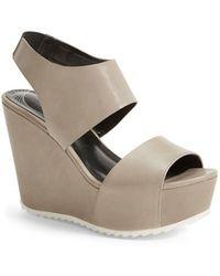 Trouvé - 'morgan' Platform Wedge Leather Sandal - Lyst
