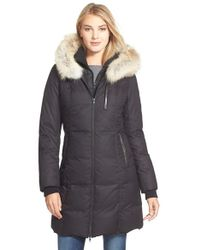 SOIA & KYO - 'Chrissy' Print Down Parka With Genuine Leather & Coyote Fur Trim - Lyst
