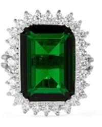 CZ by Kenneth Jay Lane - Emerald Cut Cubic Zirconia Pavé Ring - Lyst