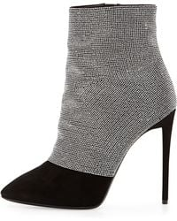 Giuseppe Zanotti Strass And Suede Ankle Boot - Lyst