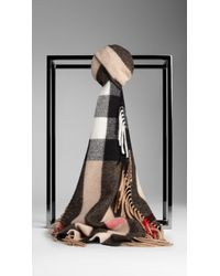 Burberry Cashmere and Merino Wool Check Scarf - Lyst