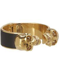 Alexander McQueen Two Skull Metalleather Bracelet - Lyst