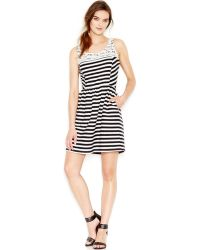 Maison Jules Striped Fit-And-Flare Dress - Lyst