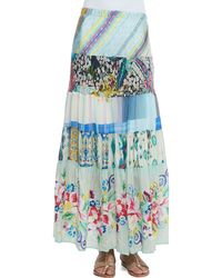 Johnny Was - Floral-Print Tiered Silk Skirt - Lyst