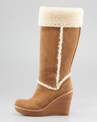 Ugg Aubrie Suede Wedge Knee Shearling Boot Chestnut - Lyst
