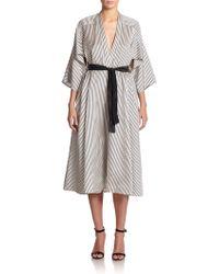TOME Striped Silk Wrap Dress - Lyst