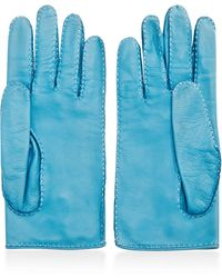 What Goes Around Comes Around Hermes Blue Lambskin Clou De Selle Gloves - Lyst