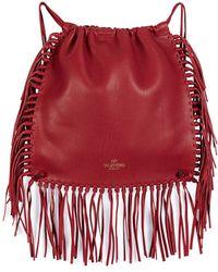 exact replica bags - Prada Fringed Nylon \u0026amp; Leather Backpack in Black | Lyst