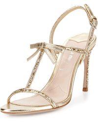 Miu Miu Glitter T-Strap Sandal - Lyst