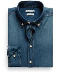 Mango Slimfit Dark Wash Denim Shirt - Lyst