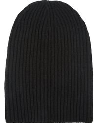 Barneys New York English Rib-Knit Beanie black - Lyst