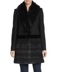 Vera Wang Mixed Media Faux Fur-collar Coat - Lyst