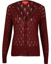 Vivienne Westwood Red Label - Red Lurex Pointelle Knit Cardigan - Lyst