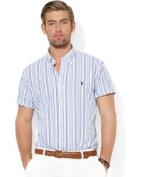 Ralph Lauren Polo Customfit Shortsleeved Multistriped Poplin Sport Shirt - Lyst
