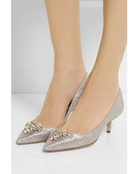 Brian Atwood Jael Crystalembellished Lamé Pumps - Lyst