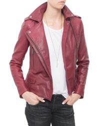 Muubaa Vila Leather Jacket red - Lyst