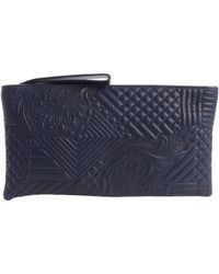 Nada Sawaya Navy Quilted Leather Oversized Gigi Clutch - Lyst