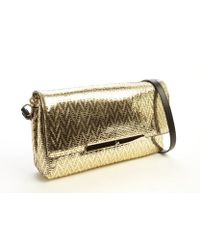 Christian Louboutin Gold Textured Metallic Leather Chevron Rougissime Convertible Shoulder Bag - Lyst