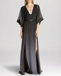 Halston Heritage Gown - Belted V-Neck Side Slit - Lyst