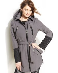 Betsey Johnson Hooded Faux Leather Trim Belted Coat - Lyst