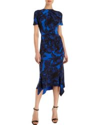 Junya Watanabe Abstract Leaf Print Short Sleeve Dress - Lyst
