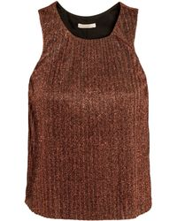 H&M Pleated Top brown - Lyst
