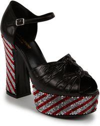 Saint Laurent Sequined-Heel Leather Platform Sandals - Lyst
