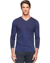 Calvin Klein Engineered Stripe Jersey V-Neck Shirt blue - Lyst