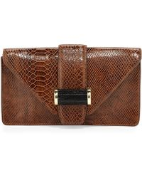 Ivanka Trump Snakeprint Bar Clutch Bag - Lyst