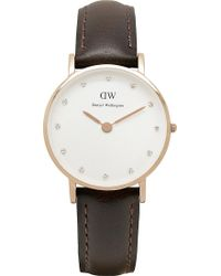 Daniel Wellington Classy Rose Gold Leather Strap Watch brown - Lyst