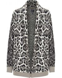 Juicy couture Leopard Print Chunky Knit Cardigan | Lyst