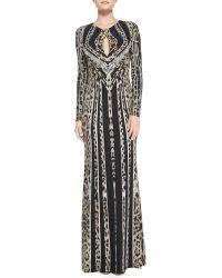 Roberto Cavalli Longsleeve Leopardstripe Deco Gown - Lyst