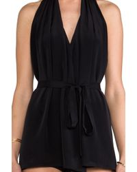 Robert Rodriguez Halter Belted Dress in Black - Lyst