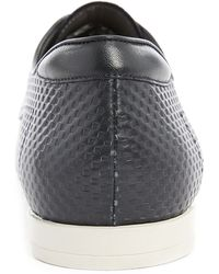 Hugo Paresto Navy Blue Derby Shoes With Checkerboard Detail - Lyst