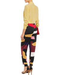 Issa - Ivy Draped Color-block Jersey Tapered Pants - Lyst