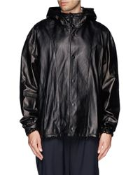 3.1 Phillip Lim Adjustable Hood Leather Jacket - Lyst