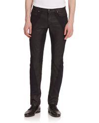 Versace Texture Block Coated Denim Jeans black - Lyst