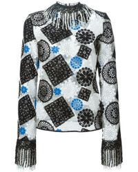 MSGM | Sheer Longsleeve Embroidered Top Black Blue White | Lyst