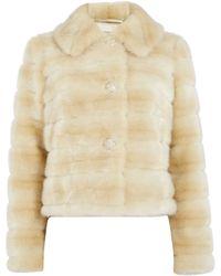 Eliza J - Faux Fur Coat with Diamante Buttons - Lyst