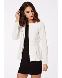 Missguided Danicar Gold Zip Textured Peplum Blazer White - Lyst