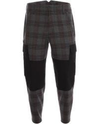 Alexander McQueen Wool Check Patch Trousers - Lyst
