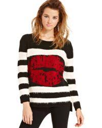 Material Girl - Juniors Eyelashknit Striped Graphic Sweater - Lyst