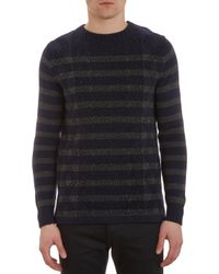 Sacai Flocked Cable Pattern Stripe Sweater - Lyst