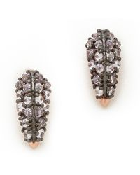 Katie Rowland - Stone Studded Fang Earrings Rose Goldlavender - Lyst