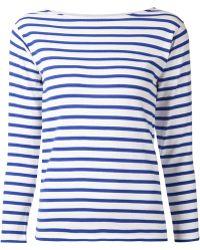 Saint Laurent Stripe Boatneck Sweater - Lyst