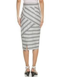 Milly Striped Tie Midi Skirt - White - Lyst