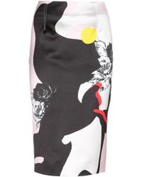 Prabal Gurung Printed Satin Pencil Skirt - Lyst